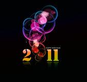 New year design 2011. New year 2011 in colorful bubble background design. Vector illustration Stock Photos