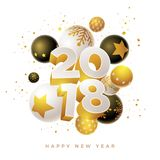 New Year 2018 Design. Abstract 2018 new year greeting card design with 3d white, black and gold Christmas balls. Elements are layered separately in vector file Vector Illustration