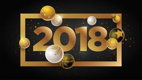 New Year 2018 Design. Abstract 2018 new year greeting card design with 3d white, black and gold Christmas balls. Elements are layered separately in vector file Stock Illustration