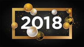 New Year 2018 Design. Abstract 2018 new year greeting card design with 3d white, black and gold Christmas balls. Elements are layered separately in vector file Royalty Free Illustration
