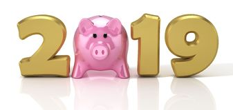 New Year 2019. Design concept with pink glossy piggy bank. 3D Illustration vector illustration