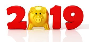 New Year 2019. Design concept with yellow glossy piggy bank. 3D Illustration stock illustration