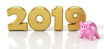 New Year 2019. Design concept with yellow glossy piggy bank.Piggy bank with golden coins stacks. Piggy bank with golden coins stacks. 3D Illustration vector illustration