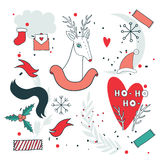 New Year design elements set with Christmas deer Royalty Free Stock Photo