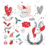 New Year design elements set Santa Claus and Christmas deer Stock Photos