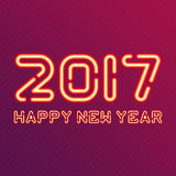 New year design neon figures. Happy New Year 2017 vector illustration. Vector neon figures with lights. Greeting card background Royalty Free Stock Images