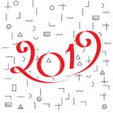 2019 New Year Design. 2019 New Year Vector Numbers on Memphis Pattern Background. Winter Holidays Greeting Card Design Stock Images
