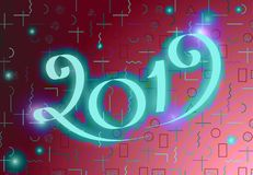 2019 New Year Design. 2019 New Year Vector Numbers. Winter Holidays Greeting Card Design Royalty Free Stock Images