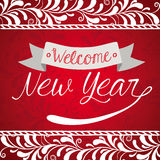 New year design. Over red background, vector illustration Royalty Free Stock Photo
