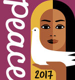2017 new year design with peace message and girl holding a dove. Retro style 2017 new year design with peace message and girl holding a dove. For posters, cards Stock Photos