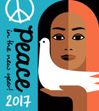 2017 new year design with peace message and girl holding a dove. Retro style 2017 new year design with peace message and girl holding a dove. For posters, cards Stock Image