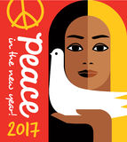 2017 new year design with peace message and girl holding a dove. Retro style 2017 new year design with peace message and girl holding a dove. For posters, cards Stock Images