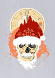 New Year design with Santas skull. Stock Image