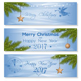 New Year 2017 design set. Festive background for Xmas and NY. New Year 2017 design set. Festive background for Christmas and New Year 2017. Light blue  card with Stock Image