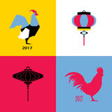 New Year design with silhouette of roosters and chinese lantern. New Year design with silhouette of rooster and chinese lantern Royalty Free Stock Image