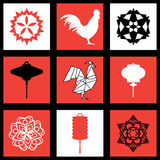 New Year design with silhouette of roosters and chinese lantern  snowflake Royalty Free Stock Images