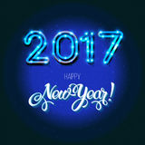 New Year 2017 design. Vector neon figures with lights. Greeting card background. Merry Christmas Stock Image