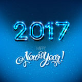 New Year 2017 design. Vector neon figures with lights. Greeting card background. Merry Christmas Stock Photography