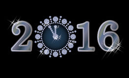 New year 2016 diamond clock banner. Vector illustration Royalty Free Stock Images