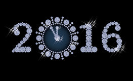 New year 2016 diamond clock banner. Vector illustration Royalty Free Stock Photography