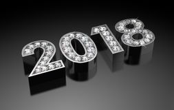 New Year Diamonds 2018. Computer generated image Royalty Free Stock Image