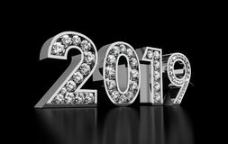 New Year Diamonds 2019. Computer generated image Royalty Free Stock Photos