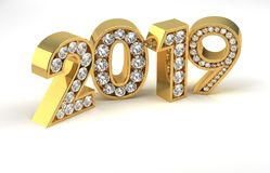 New Year Diamonds 2019. Computer generated image Stock Photo