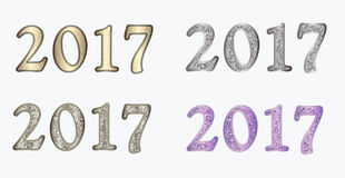 New year in different versions. Set 2017 in different versions. Christmas vector illustration with glitter numbers can be used in any text, invitations, posters vector illustration