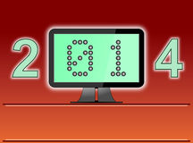 New Year 2014 Digital Age. Raster illustration of a concept for New Year 2014 as a digital age year. The zero and one of the year 2014 is shown as binary numbers Stock Photo