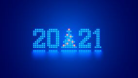 Free New Year Digits 2021 And Christmas Tree In Tech Style. 20 21 Consist Of Neon Dots Or Pixels On Blue Background. 2021 New Year Card Royalty Free Stock Photography - 203358627