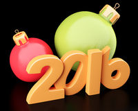 New Year 2016 digits with baubles Stock Image