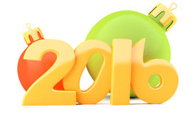 New Year 2016 digits with baubles Stock Photos