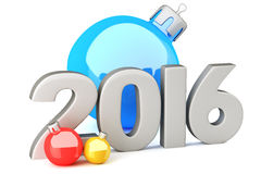 New Year 2016 digits with baubles Royalty Free Stock Photo