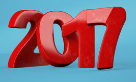 2017 New year digits on blue background. Red 2017 New year digits on blue background. 3d rendering Stock Illustration