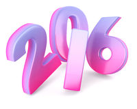 2016 New Year digits. Blue pink 2016 New Year digits isolated on white background. 3d render Royalty Free Stock Photo