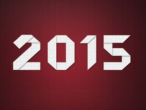 New Year 2015. Digits folded from paper in origami style on red background vector illustration