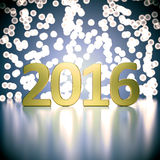 2016 New Year digits. Gold 2016 digits on abstract blurred lights background. 3D render vector illustration