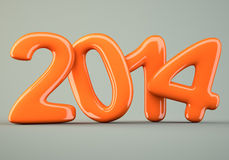 2014 New Year digits. On gray background. 3d illustration Stock Photos