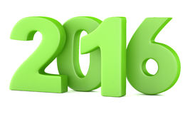2016 New Year digits. Green 2016 New Year digits on white background. 3d render vector illustration