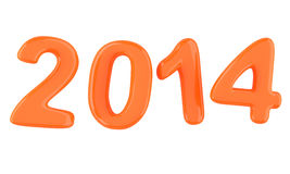 2014 New Year digits. Isolated on white background. 3d illustration Royalty Free Stock Photos