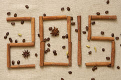 New 2015 year. New year 2015, digits made of cinnamon sticks Stock Photos