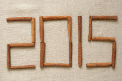 New 2015 year. New year 2015, digits made of cinnamon sticks Royalty Free Stock Image