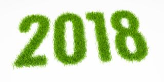 New year 2018 digits made from grass. Perspective view Stock Photos