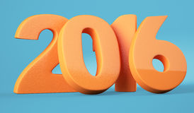 2016 New Year digits. Orange 2016 New Year digits on blue background. 3d render royalty free illustration