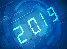 New year 2019 digits. Over blue abstract background royalty free stock image