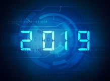 New year 2019 digits. Over blue abstract background stock image