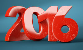 2016 New Year digits. Red 2016 New Year digits on blue background. 3d render stock illustration