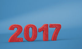 New year 2017 digits. New year 2017 red digits on blue background. 3d render Stock Photos