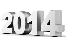 2014 New Year digits. On white background. 3d illustration Royalty Free Stock Photo