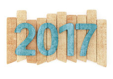 2017 New year digits on wooden planks. 2017 New year wooden digits on wooden planks. Isolated on white background. 3d rendering Stock Illustration